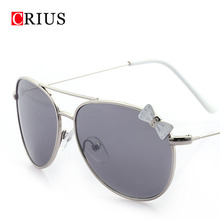 kids children's sunglasses girls sun glasse fashion big frame retro Vintage Brand design Metal bow Color mirror lens 2016 new(China (Mainland))