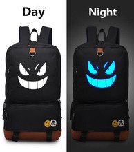 Pokemon GO Black luminous glow in dark Backpack PU Shoulders Bag Laptop Bag Schoolbag
