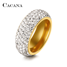 Buy CACANA Stainless Steel Rings Women Cubic Zirconia Wedding Ring Fashion Jewelry Wholesale NO.R192 193 for $1.60 in AliExpress store