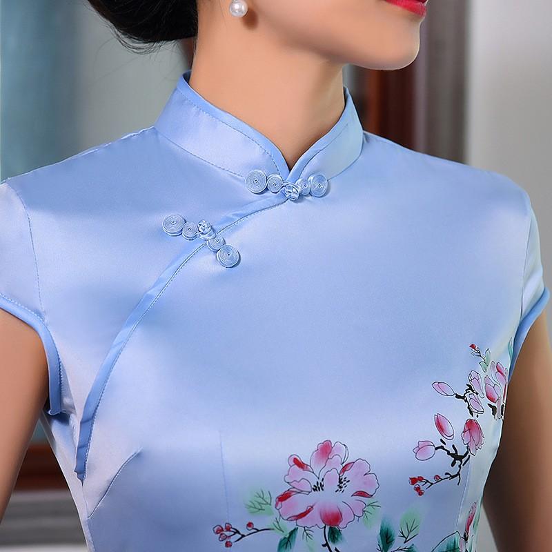 มาใหม่แฟชั่นแผนจีนชุดผู้หญิงผ้าไหมCheongsam QipaoมินิVestidoเดเฟสต้าขนาดSml XL XXL Z20160317 ถูก