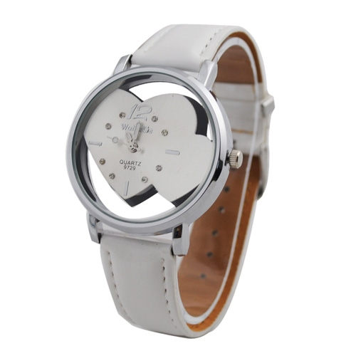 Free Shipping New Popular Diamond Double Heart Dials Nice Style Leather Band WristWatch(China (Mainland))