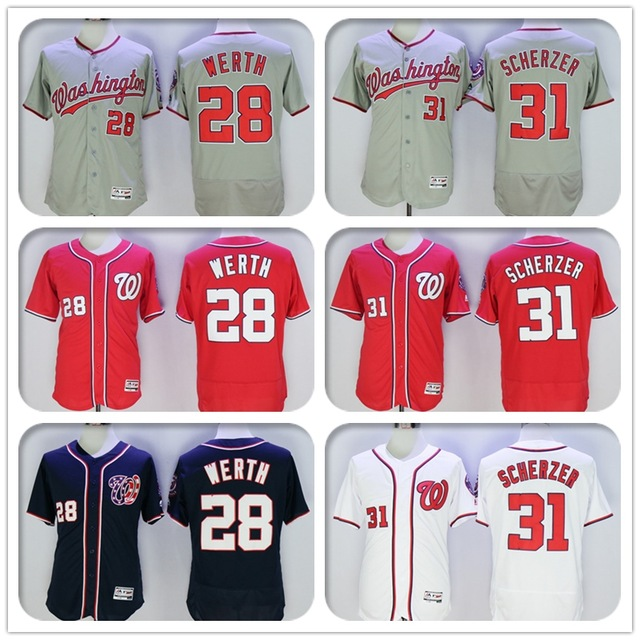 2016 New Fabric Mens Flexbase Version 28 Jayson Werth 31 Max Scherzer Jersey Color Red Navy Gray White Throwback Jerseys(China (Mainland))