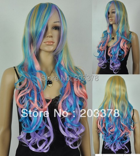 Long Wavy HEAT-RESISTANT FIBER Mixed Color Hair Wig for Cosplay hair Wig  10pcs/lot mix order free shipping