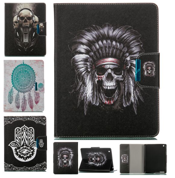 High Quantity Terrible Skull Ghost Design Stand Painted Magnetic Leather Case for ipad mini 1 2 3 Smart Cover for ipad mini(China (Mainland))