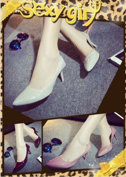 2015 summer new European and American fashion sexy nude pink shoes work fine side empty pointed high heels single shoes(China (Mainland))