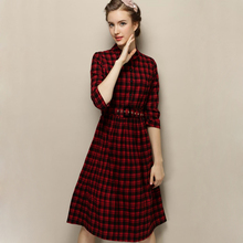 2015 Autumn Fashion woman clothes red font b tartan b font plaid dress Elegant Slim Mid