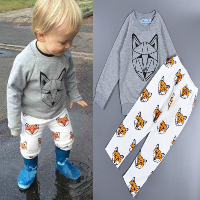 2016 Bobo choses Brands boys set Autumn winter girls clothing sets kids cartoon animal Sweatshirts+pants Children clothes set(China (Mainland))
