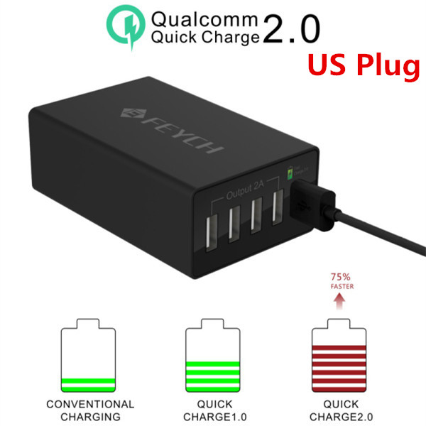 FEYCH QC2.0 50W 10A 5 Ports US Plug USB Charger for Samsung S6 S6 Edge Note 5 Note Edge Nexus 6 HTC M9 Xperia Z3 Quick Black(China (Mainland))
