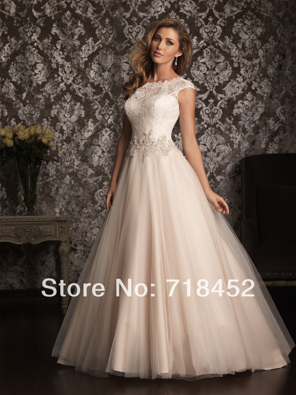 Buy 2014 New 50s Style Wedding Dresses High Neck Bridal Gown