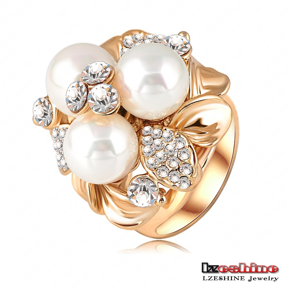 LZESHINE Brand Wholesale Three Pearl Ring 18K Gold Plate Austrian Crystal Fashion Lovely Ring for Women anel de ouro Ri-HQ0066(China (Mainland))