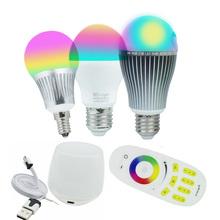 Milight Led Bulbs 4W 6W 9W GU10 E27 RGBW RGBWW Led Bulb Lamps Wireless Wifi Controller Box 4-Zone 2.4G RF Remote Controller(China (Mainland))
