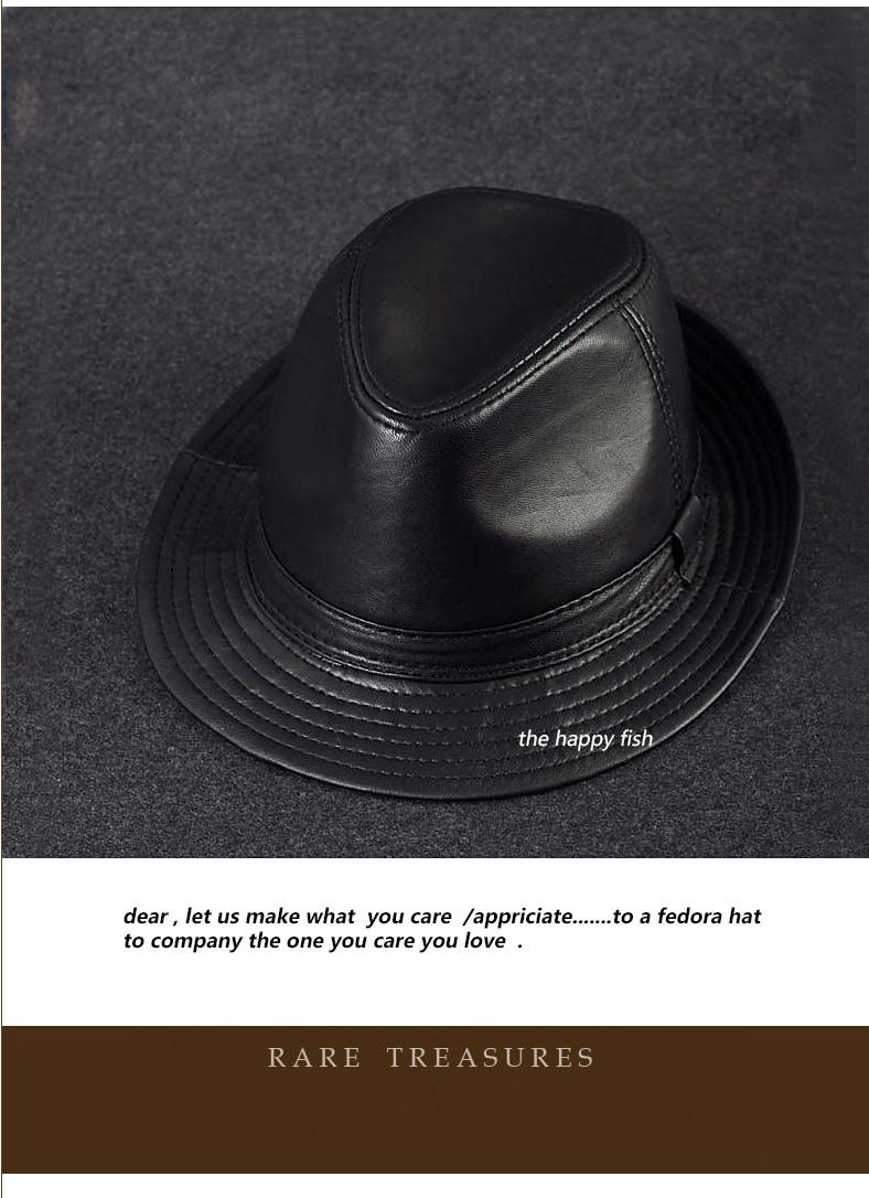 men fedora Trilby hat Black Leather Fedora Hat for men chapeau homme vintage jazz hats for men chapeu fedora (3)