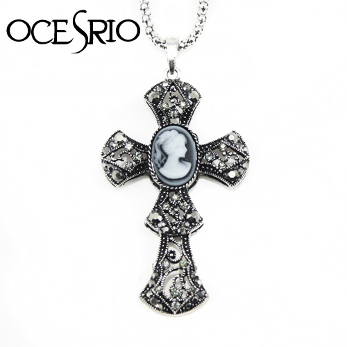 Vintage Big Cross Pendant Necklaces & Pendants Vintage Cameo Silver Chain Jewelry for Women Accesories jesus piece nke-f73(China (Mainland))