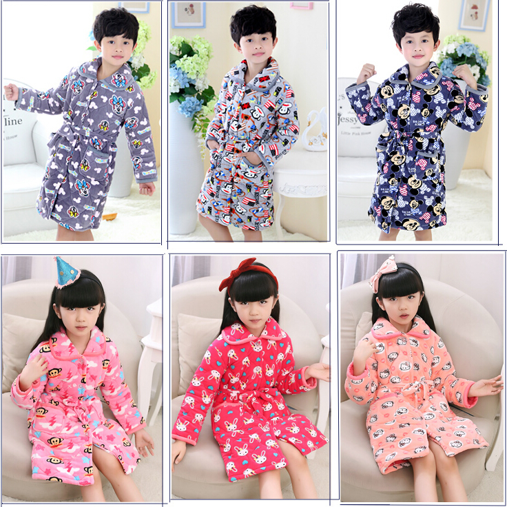 winter Coral Fleece pajamas gown in warm clothes Home Furnishing quilted bathrobe children girl thickening three thicker Robe<br><br>Aliexpress