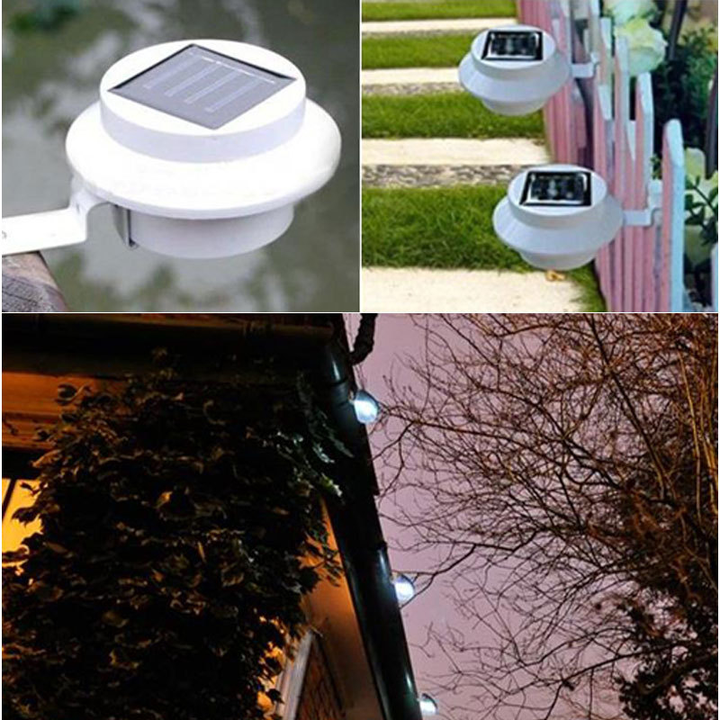 hot bright 3 led solar powered fence gutter light outdoor. Black Bedroom Furniture Sets. Home Design Ideas