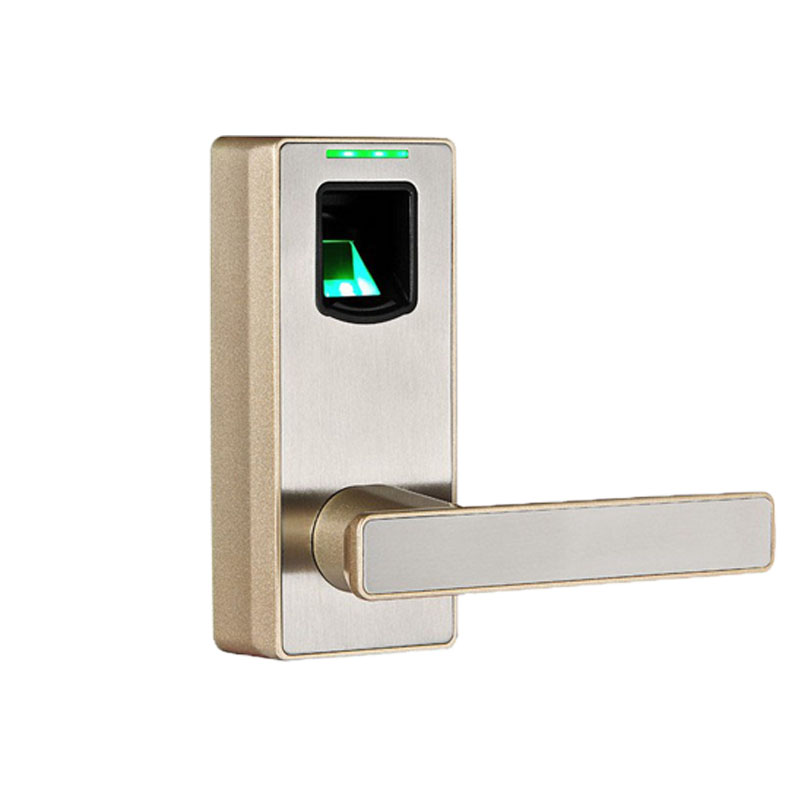 Fingerprint Door Lock Smart Lock with Mechanical Key Free-style Handle Champaign Gold Zinc Alloy And Acrylic L&S SL16-089CH-1(China (Mainland))