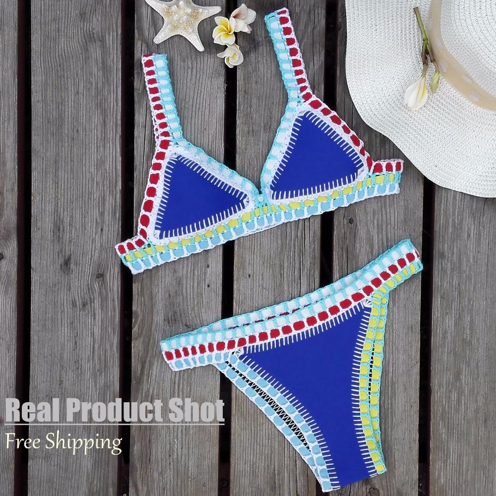 High Quanlity handmade Crochet Beachwear women triangl Swimwear bikini Real brand Neoprene Bikini set Women Sexy bikini(China (Mainland))
