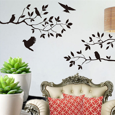 Removable Bird Tree Branch Wall Stickers DIY Livingroom Bedroom Kitchen Sofa Bar Background Mural Art Decal Wallpaper Home Decor(China (Mainland))