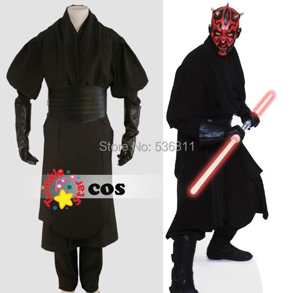 custom movie Star Wars Costume Darth Maul Cosplay Costumes (jacket+shirt outside+shirt inside+waistband+pant+gloves)(China (Mainland))