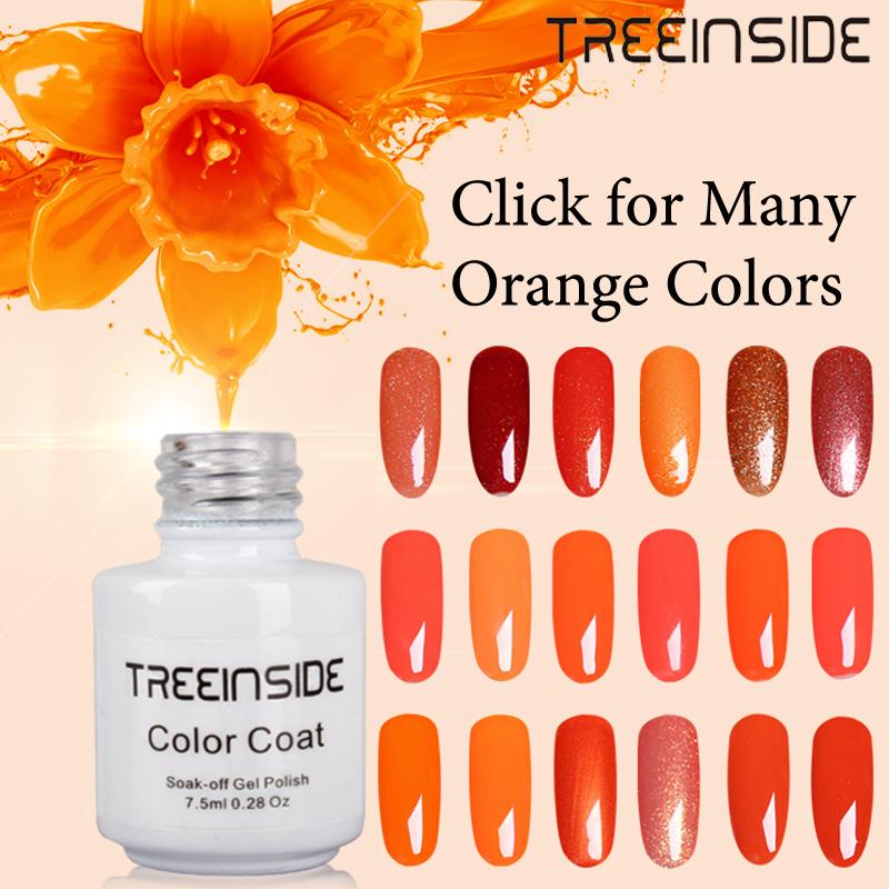 TREEINSIDE 7.5ml Nail Polish Lacquer UV LED Lamp Drying Magic Orange Color Top Base Coat Needed Soak-off Gel Nail LED UV Gel(China (Mainland))