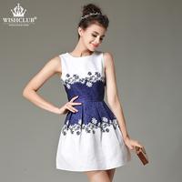 WISHCLUB Women Girl Summer Style Dress 2015 Vintage Floral Print Sleeveless Round Neck Party Dresses Causal Brief Vestidos