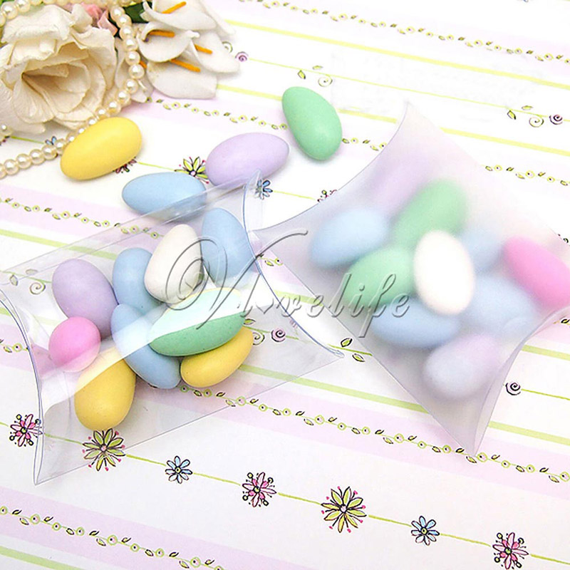 100Pcs/lot New Style Pillow Shape Sweet Candy Box Packaging Gift Box for Wedding Party Favor Decor Matte/Clear PVC Wholesales(China (Mainland))