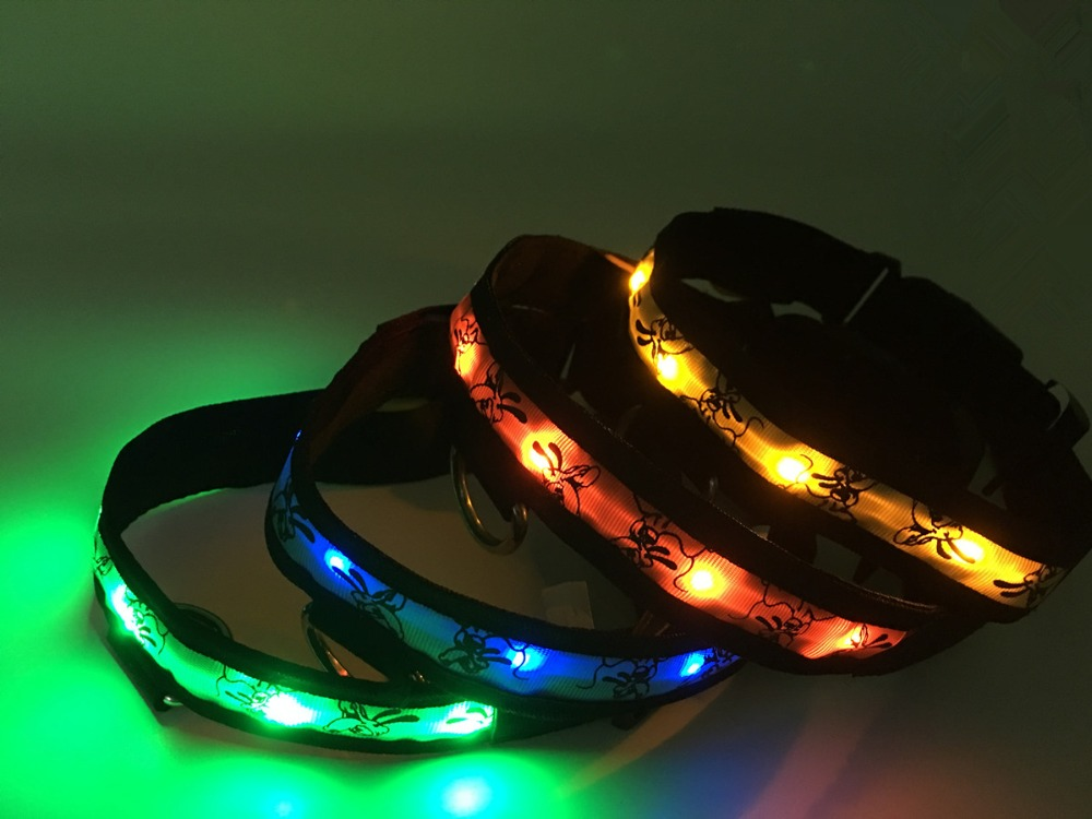 5 colors 3 sizes Nylon LED Doggy print cat/dog Collars Night Safety blink Flashing For pets(China (Mainland))
