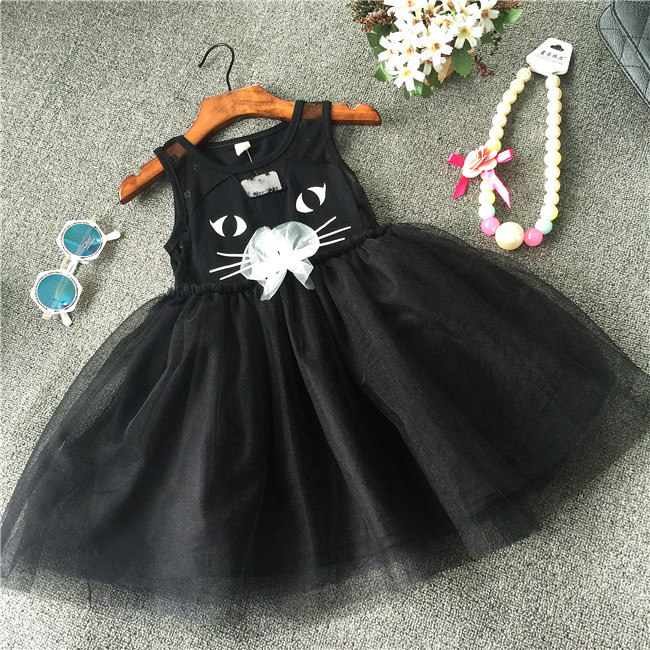 Mother & kids clothing for girls black cat dress tutu summer for kids kinder toddler small little child costumes cute(China (Mainland))
