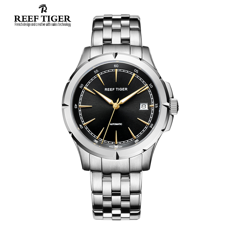 Reef Tiger/RT Watches New Arrival Business Dress Watches Automatic Date Mens Full Steel Luminous Watches RGA819(China (Mainland))
