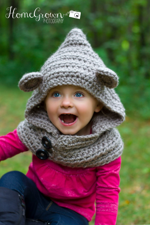 New Crochet Hooded Bear Cowl, Hooded Scarf Baylie Bear Cowl Photography Photo Props Girl Winter hooded cowl baby hat caps(China (Mainland))
