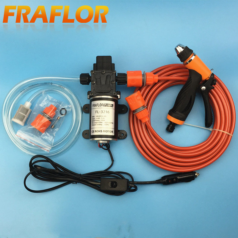 Free Shipping Portable 85W 130PSI High Pressure Car Electric Washer Wash Pump 12V Car Washing Cleaning Machine(China (Mainland))