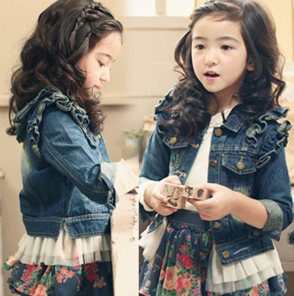 Childrens clothing denim coat outerwear spring female child 100% cotton lace top child outerwear girls jeans coats baby jacket <br><br>Aliexpress