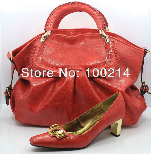 FREE SHIPPING! hot-selling fashion matching shoe and bag set Size39-43,RED,SB2693