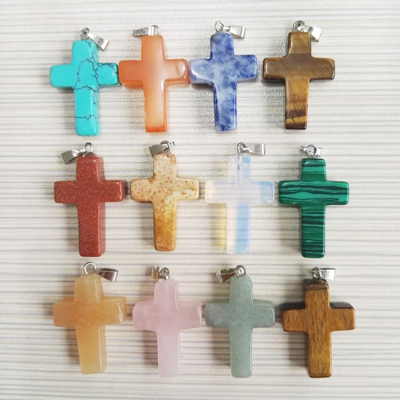 wholesale Natural Stone Cross Pendant Charms diy necklace Pendants for jewelry making women and men 50pcs/lot free shipping(China (Mainland))