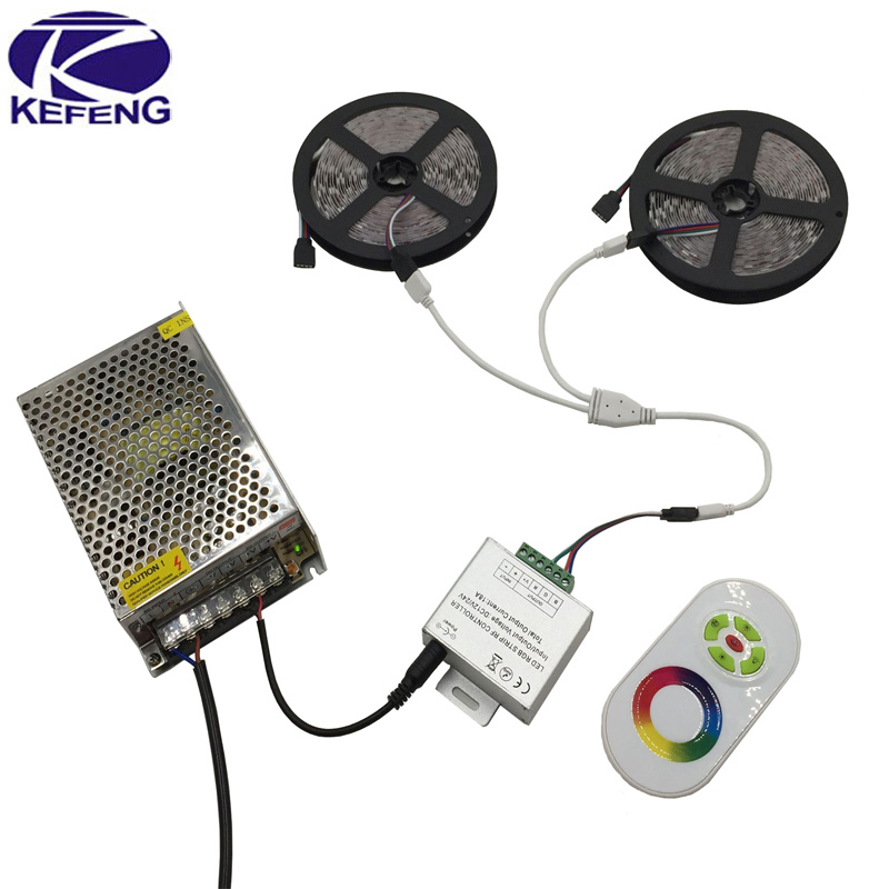 Full set RGB 10m 15m 20m led strip light SMD 5050 Non Waterproof 600 Leds+18A RF Touch Remote Controller+DC 12V 10A power supply(China (Mainland))