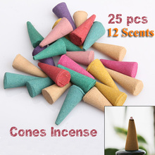 25pcs/pack Mix Stowage Colorful Fragrance Triple Scent Incense Cones Potpourri Free Shipping(China (Mainland))