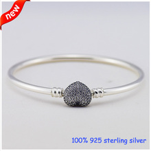 Silver bangle with heart-shaped clasp and cubic zirconia Silver Bracelet  New100% 925 Sterling Silver Bracelets DIY  Wholesale(China (Mainland))