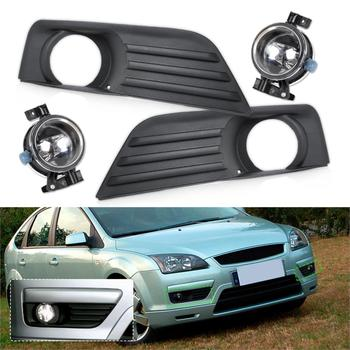 4M51-19952-A, 4M51-19953-A Brand New Front Lower Left Right Bumper Fog Light Grille + Lamp Kit Set For Ford Focus 2005 2006 2007