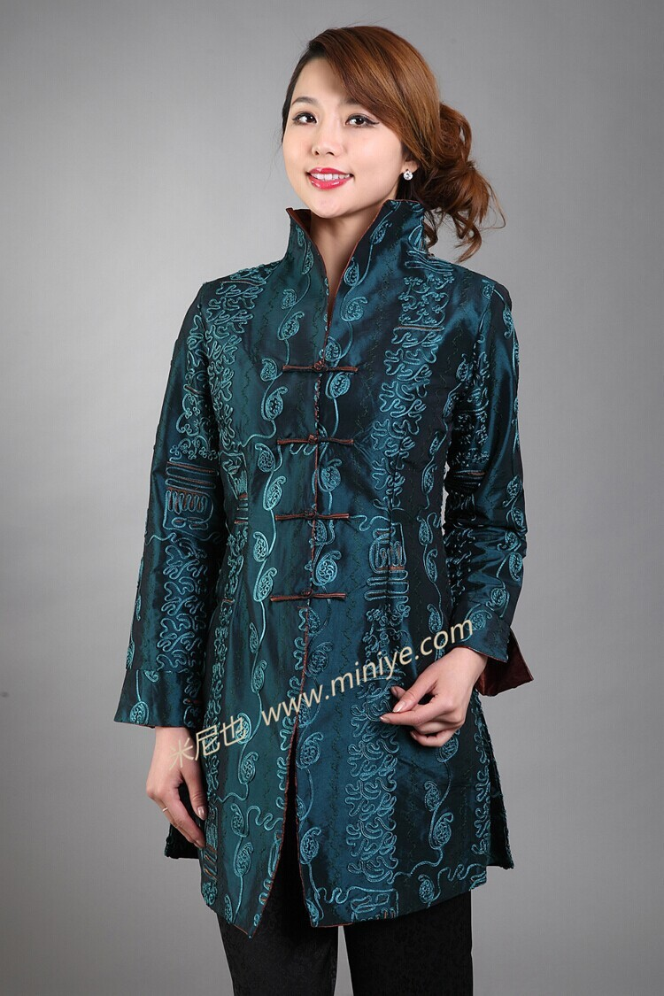 Autumn New Green Lady Polyester Long Jacket Vintage Mandarin Collar Coat Applique Floral Costume Dropshipping Size S To 4XL NJ36Одежда и ак�е��уары<br><br><br>Aliexpress