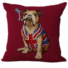 American And British Flags Pet Dog Linen Throw Pillow Case Cushion Cover
