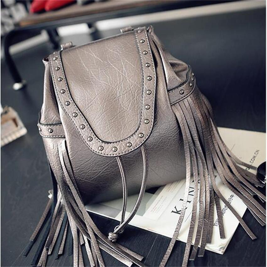 2016 new Korean Ladies backpack backpack cool tassel satchel fashion casual handbag rivets<br><br>Aliexpress
