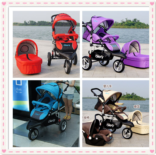 Luxury Kids Pram 3 In 1Include Car Seat And Bassinet Red,Purple,Beige,Blue Colors Baby Trolley 3 In 1 With All Accessories(China (Mainland))
