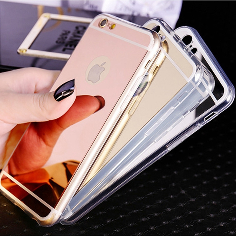Fashion Luxury Ultra Slim Soft Case For Iphone 5S Clear Silicone Edge + Shinny Mirror Back Cover For Iphone 5 5S 5G Phone Cases(China (Mainland))