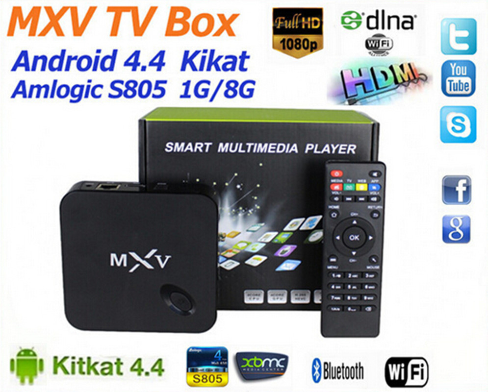 MXV tv box,Smart tv box, android tv box,Kodi Pre installed Amlogic S805 Quad Core Android 4.4, better than mxq cs918,Q7,mk888(China (Mainland))