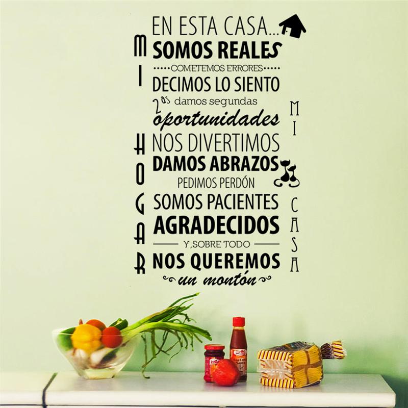 en esta casa somos reales spanish language letters diy vinyl wall stickers home decals for living bedroom decor