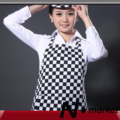 2014 Free Shipping Whole Body White Black Check Kitchen Apron Halter LatticeTether Chef apron(China (Mainland))