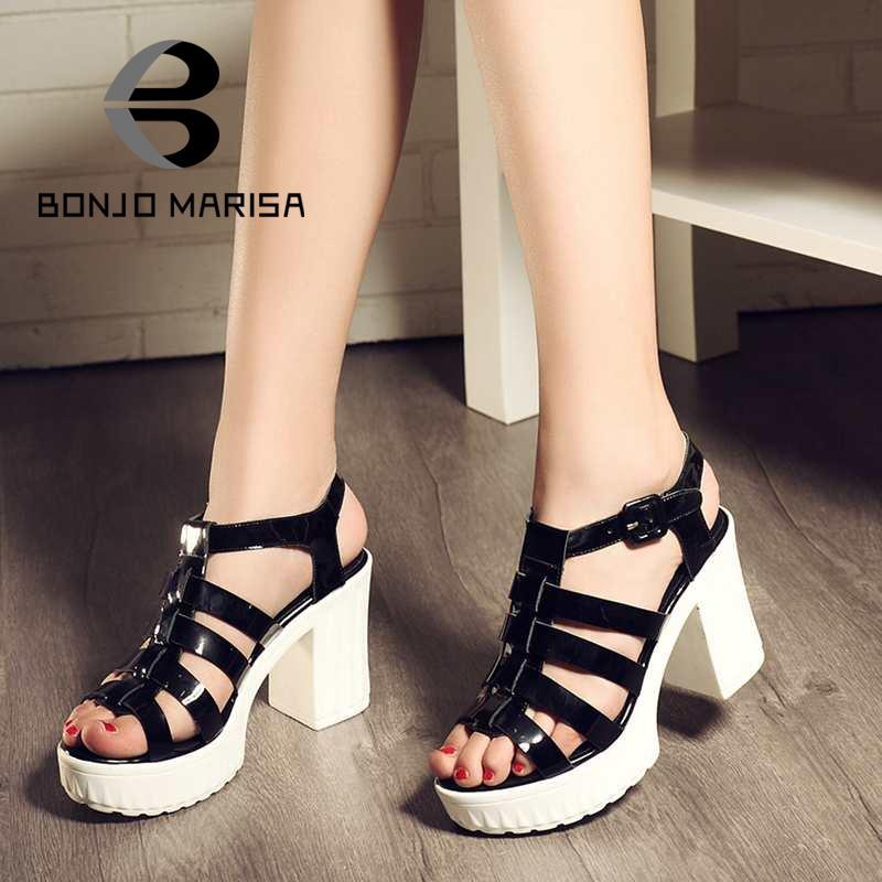 Classic Black And Green 2016 Summer Gladiator Shoes Full Grain Leather Thick High Heels Platform Open Toe Bandage Women Sandals<br><br>Aliexpress