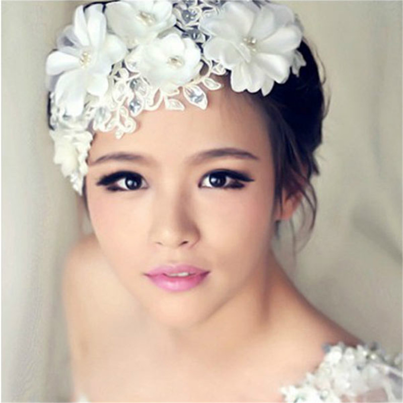 Trendy Adjustable Rhinestone Pearl Lace Flower Bridal Hair Head Band Headpiece Weddings Proms Pageant Gift For Women Girls(China (Mainland))