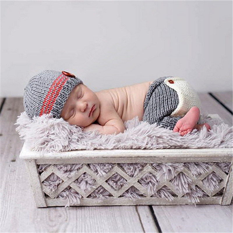 New Hot Sale Design Newborn Baby Photography Accessories Crochet Knitted Baby Costume 0-3 Month Hand Knitting Crochet Hat Pants(China (Mainland))