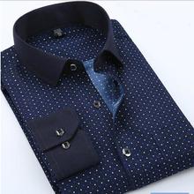 Summer New Mens Casual Shirts Fashion Long Sleeve Brand Printed Male Plus Size Formal Business Polka Dot Floral Men Dress Shirt(China (Mainland))